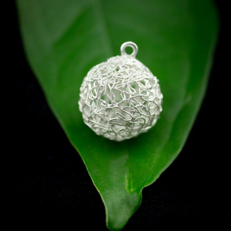 Art Clay Silver Lace Ball Ear Ring - Sue Ashpole